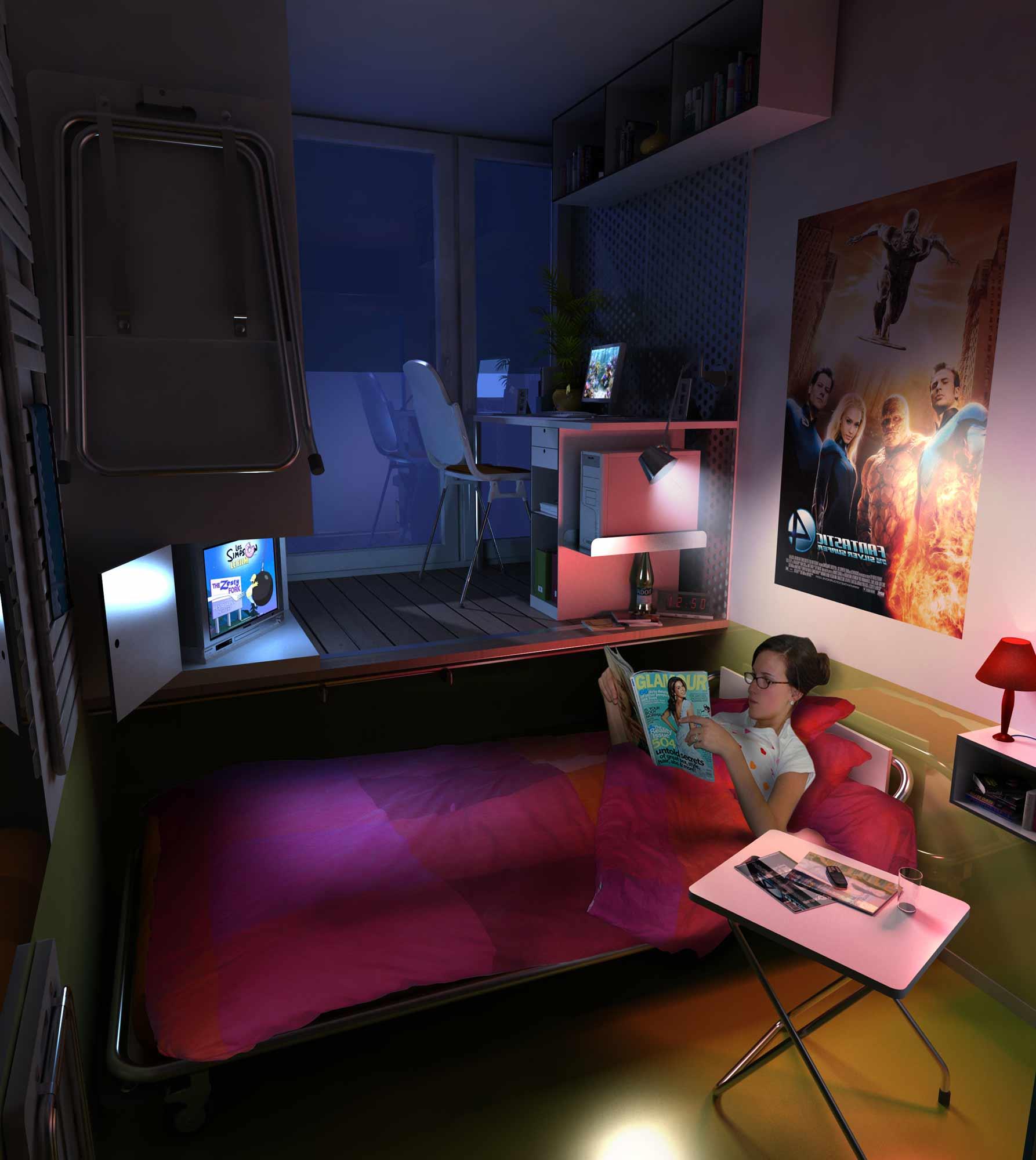 perspective 3d e n a c chambre d 39 tudiant julien weber. Black Bedroom Furniture Sets. Home Design Ideas