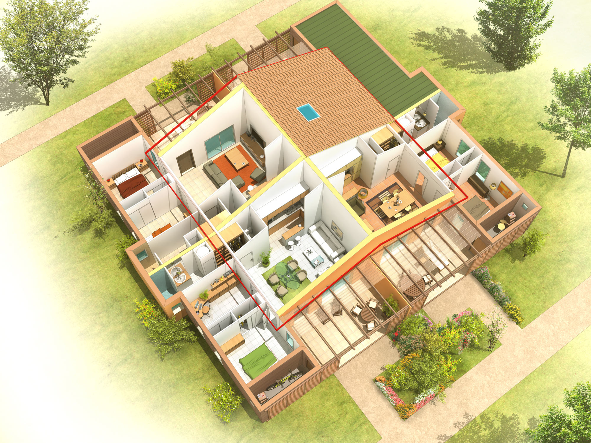 Perspectives 3d pour la promotion immobili re julien weber for Villa design de luxe